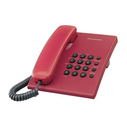 Picture of Panasonic KX-TS500 Desktop telephone with cord, red