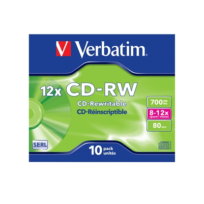 Picture of Verbatim CD-RW, rewritable, 700 MB, 12x, extra protection, in a box