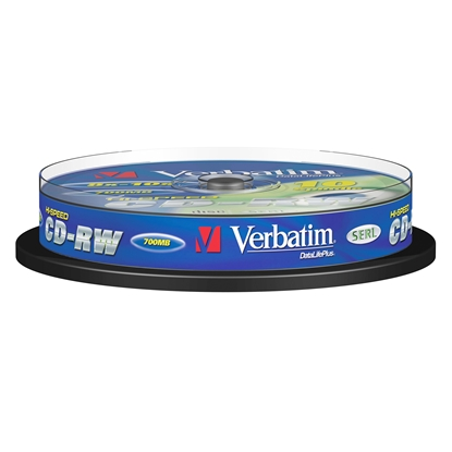 Picture of Verbatim CD-RW, rewritable, 700 MB, 12x, extra protection, 10 pcs. spindle pack