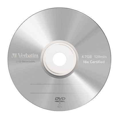 Picture of Verbatim DVD-R, 4.7 GB, 16x, AZO layer, in a box