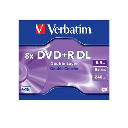 Снимка на Verbatim DVD+R Dual Layer, двуслоен, 8.5 GB, 8x, AZO покритие