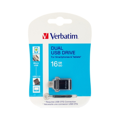 Picture of Verbatim OTG Dual Drive USB Flash Drive for smartphones and Tablet PCs, 16 GB, USB 2.0/ micro-USB,