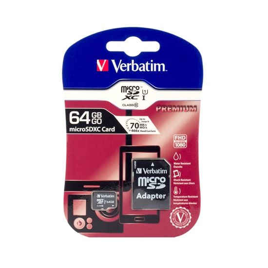 Picture of Verbatim microSDXC memory card, UHS-I, U1, Class 10, 64 GB, with SD adapter
