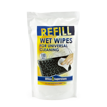 Picture of Office 1 Superstore Wet Wipes, universal, refill, 100 pcs.