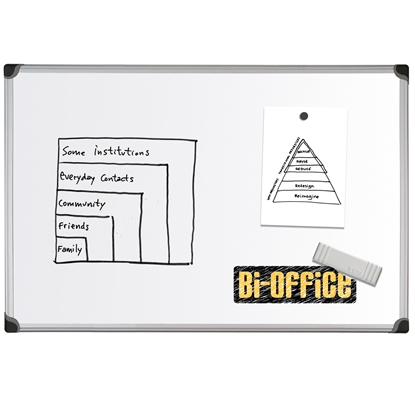 Picture of Bi-Office Magnetic Whiteboard with aluminium frame, 90 x 120 cm