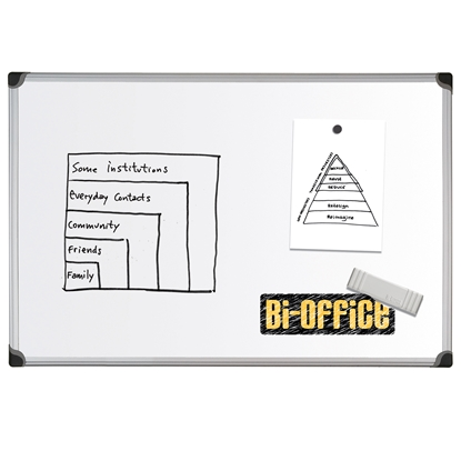 Picture of Bi-Office Magnetic Whiteboard with aluminium frame, 120 x 240 cm