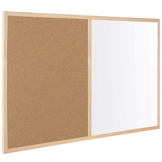 Picture of Bi-Office White Cork Board with wooden frame, 60 x 90 cm