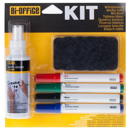 Picture of Bi-Office Kit for Whiteboard, including 4 colour highlighters, sponge and cleaning spray