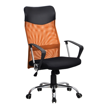 Picture of Directors chair Monti HB, upholstery, eco-leather and mesh, black seat, orange backrest