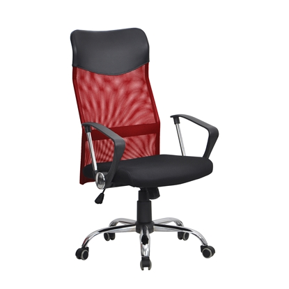 Picture of Directors chair Monti HB, upholstery, eco-leather and mesh, black seat, red backrest