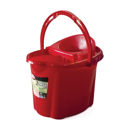 Picture of Plastic oval bucket with wringer, 12 L, red