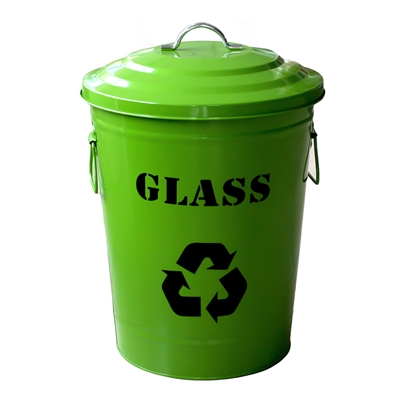 Picture of Waste bin, for separate collection, with lid, metal, 24.5 L, green