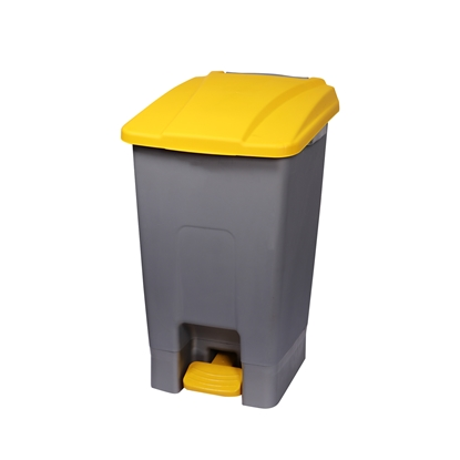 Picture of Dustbin Planet for separate waste collection, with pedal, plastic, 70 L, yellow
