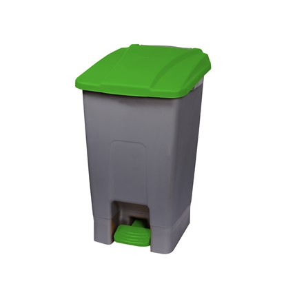 Picture of Dustbin Planet for separate waste collection, with pedal, plastic, 70 L, green