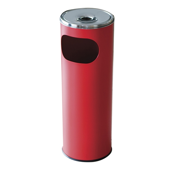 Picture of Metal dustbin with ashtray, round, 20.5 x 58 cm, 12 L, red