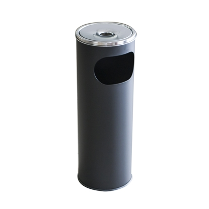 Picture of Metal dustbin with ashtray, round, 20.5 x 58 cm, 12 L, black