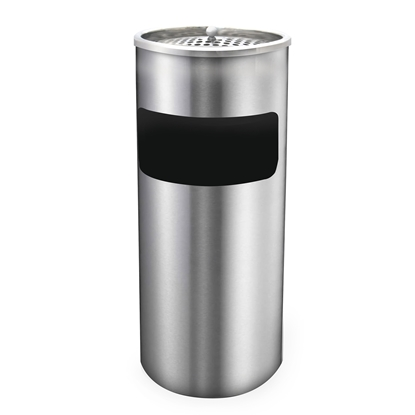 Picture of Metal dustbin with ashtray, round, 30 L, chrome