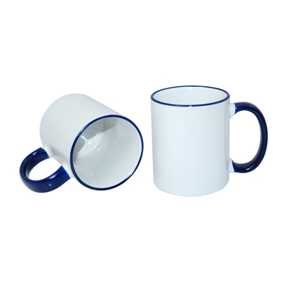 Picture of Cup, ceramic, white, with blue handle