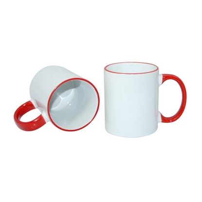 Picture of Cup, ceramic, white, with red handle