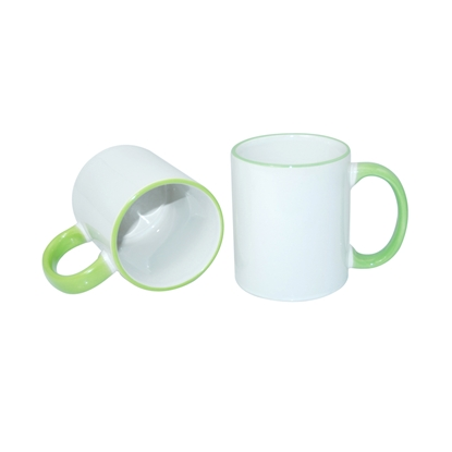 Picture of Cup, ceramic, white, with green handle