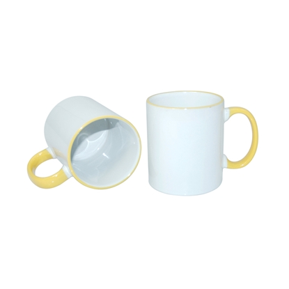 Picture of Cup, ceramic, white, with yellow handle