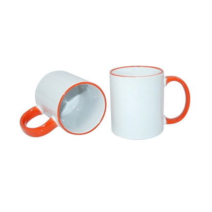 Picture of Cup, ceramic, white, with orange handle