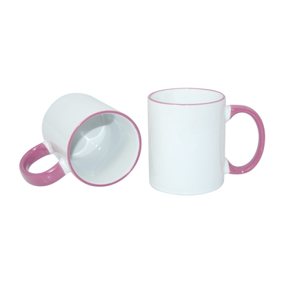 Picture of Cup, ceramic, white, with pink handle