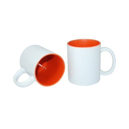 Picture of Cup, ceramic, white, with orange inside