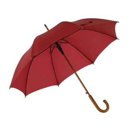 Picture of TOPS Automatic wooden stick umbrella, burgundy