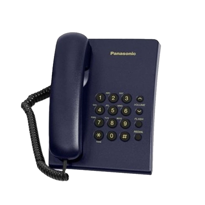 Picture of Panasonic KX-TS500 Desktop telephone with cord, blue
