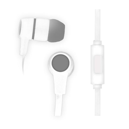 Picture of Vakoss In-ear Headphones with Microphone, with plugs, flat cable, white