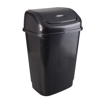 Picture of Waste bin, with swinging lid, plastic, 15 L, black