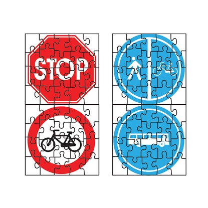 Picture of Puzzle of four different road signs