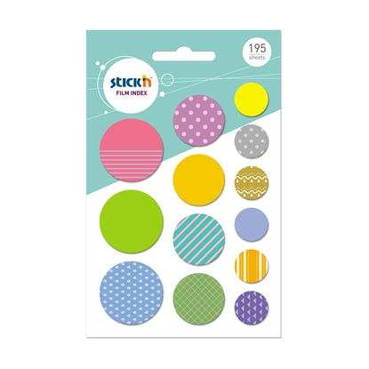 Picture of Stickn Film index Circles, assorted, 195 sheets