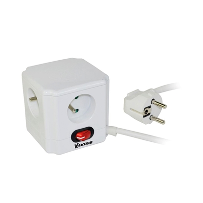 Picture of Vakoss Power Cube Extension cord, 4 sockets, white