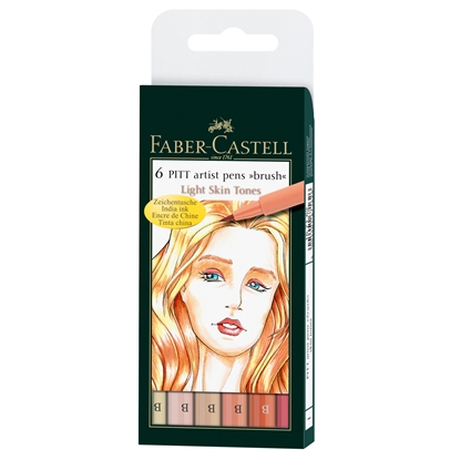 Picture of Faber-Castell Marker-brush Pitt Artist Pen, B, 6 neutral colours