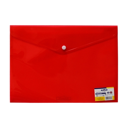 Picture of Office 1 Superstore PP File Bag with button, A4, transparent, red