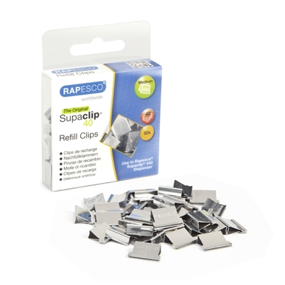 Picture of Rapesco Supaclip  Paper Clips for 40 sheets, metal, 50 pcs.