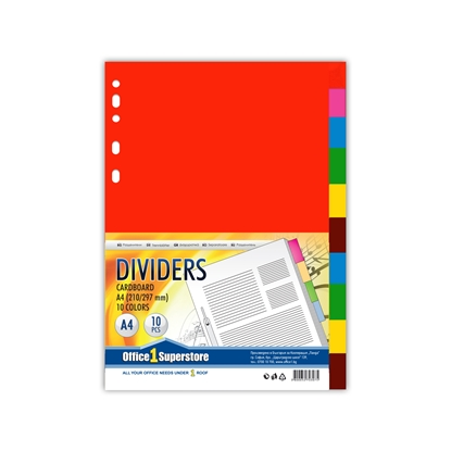 Picture of Office 1 Superstore Cardboard Dividers, A4, 160 g/m2, coloured, 10 pcs.