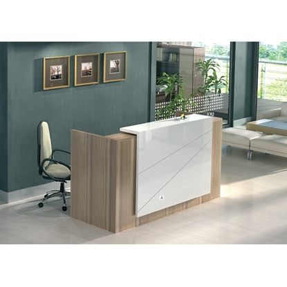 Picture of R14 Reception Desk, curved, 200 x 80 x 20 cm, MDF