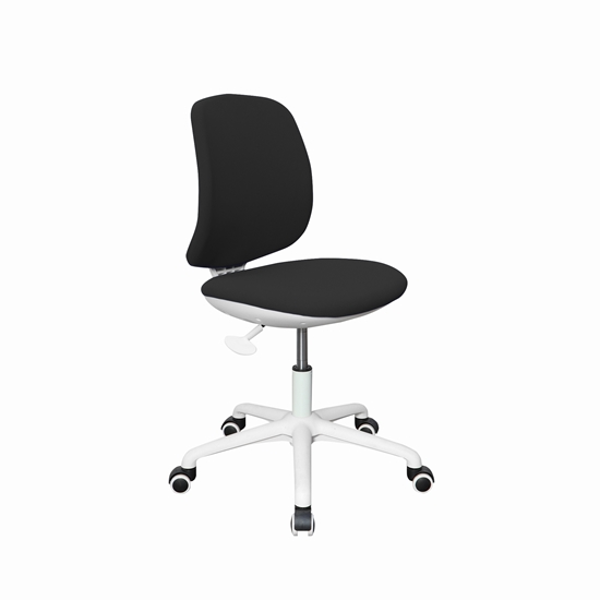 Picture of RFG Childrens chair Lucky White, damask, black seat, black backrest