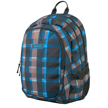 Picture of Target Backpack 3 Zip Duel Square, checkered  with brown and blue