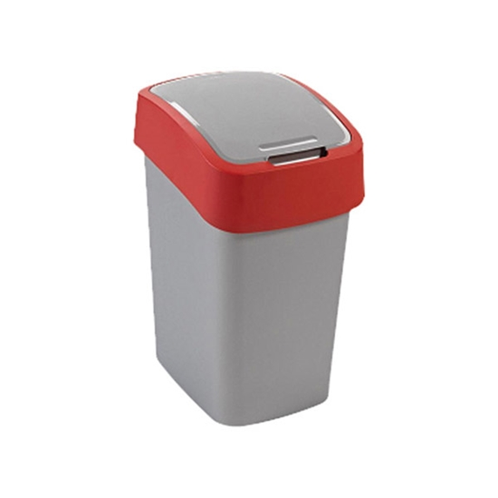 Picture of Dustbin Flip plastic, with swing lid, 10 L, red