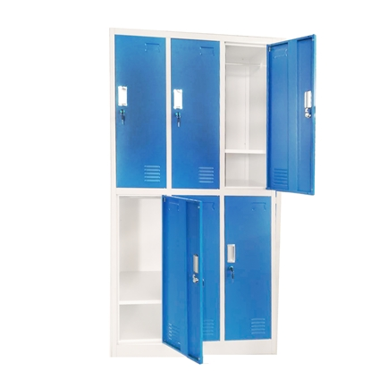 Picture of RFG Wardrobe, triple, with 6 partitions, 90 x 45 x 185 cm, metal, grey frame, with blue doors