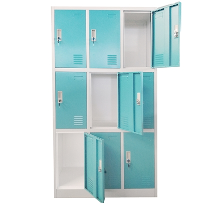 Picture of RFG Wardrobe, triple, with 9 partitions, 90 x 45 x 185 cm, metal, grey frame, with turquoise doors