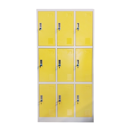 Picture of RFG Wardrobe, triple, with 9 partitions, 90 x 45 x 185 cm, metal, grey frame, with yellow doors
