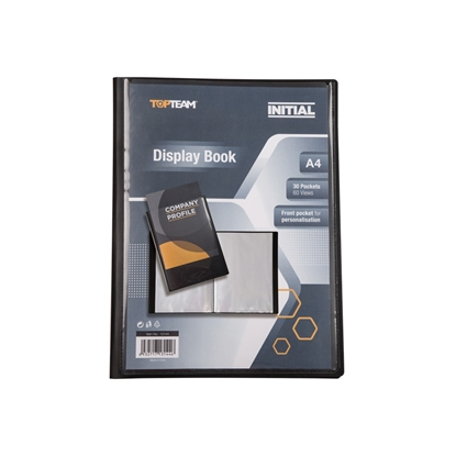 Picture of Topteam Initial PP Display Book with front pocket, 20 pockets, black