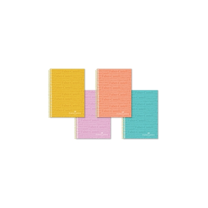 Picture of Faber-Castell notebook stamps, PP, A4, wide lines, offset paper, spiral, hard cover, 100 sheets