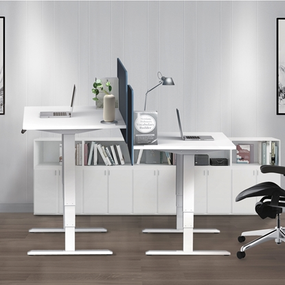 Picture of RFG Ergonomic electric desk, 160 x 80 cm, white metal legs, amber-coloured countertop