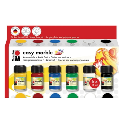 Picture of Marabu Marble paints Easy Marble, 15 ml, 6 colours